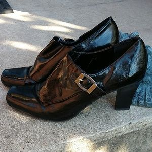 Franco Sarto Square Toe Patent Pumps with Buckle